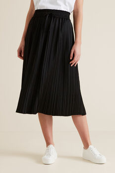 Pleat Detail Skirt  BLACK  hi-res