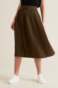 Pleat Detail Skirt  LIGHT CHOCOLATE  hi-res