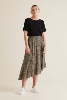 Asymmetric Animal Skirt  OCELOT  hi-res