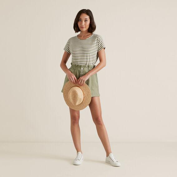 Textured Striped T Shirt  WASHED OLIVE STRIPE  hi-res