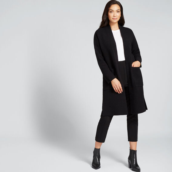 Cosy Longline Cardigan  BLACK  hi-res