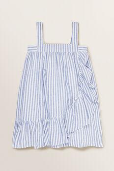 Stripe Frill Dress  WHITE/OCEAN BLUE  hi-res