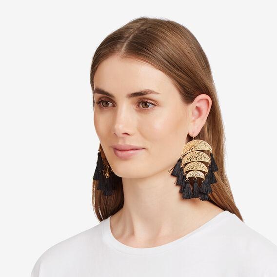 Paradiso Tassel Earrings  BLACK/GOLD  hi-res