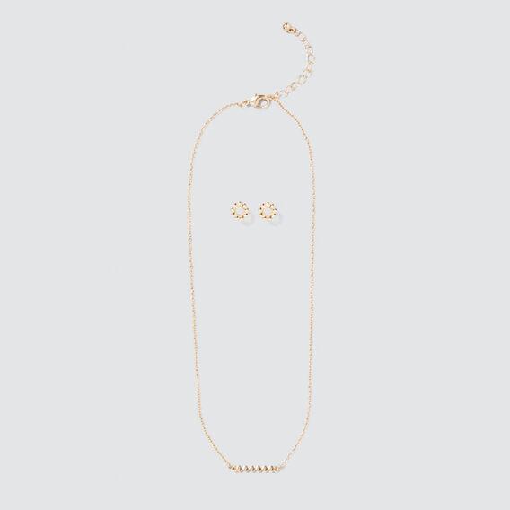 Stud and Necklace Set  GOLD  hi-res