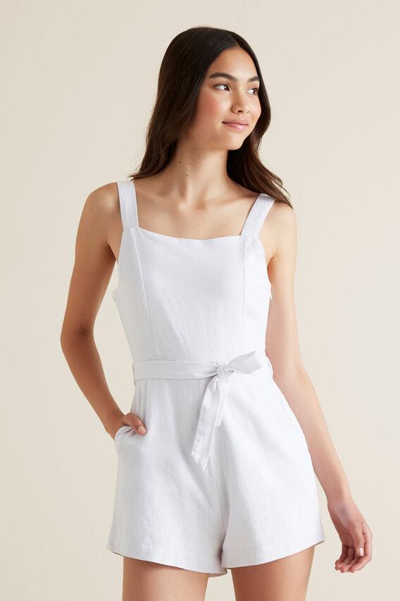 Linen Blend Romper  WHITE  hi-res