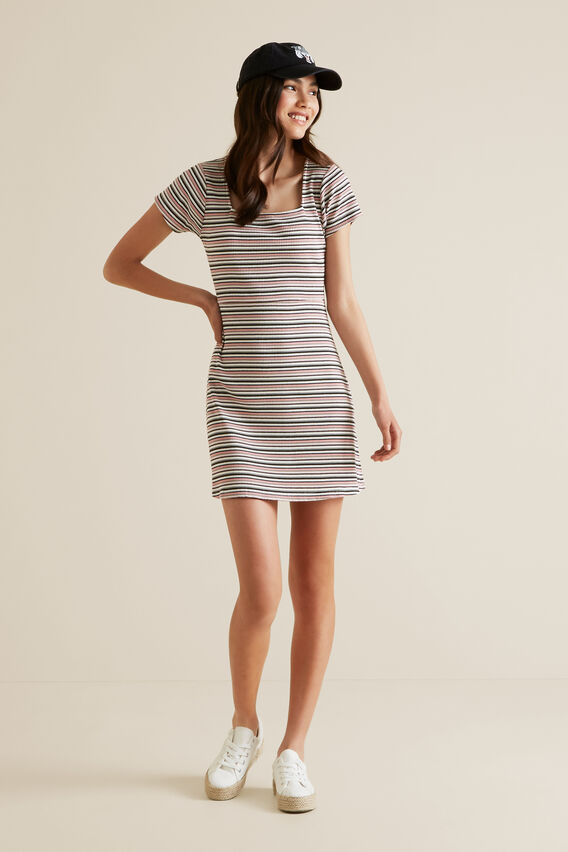 Square Neck Rib Dress  MULTI  hi-res