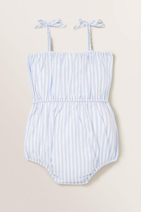Metallic Stripe Romper  BABY BLUE  hi-res
