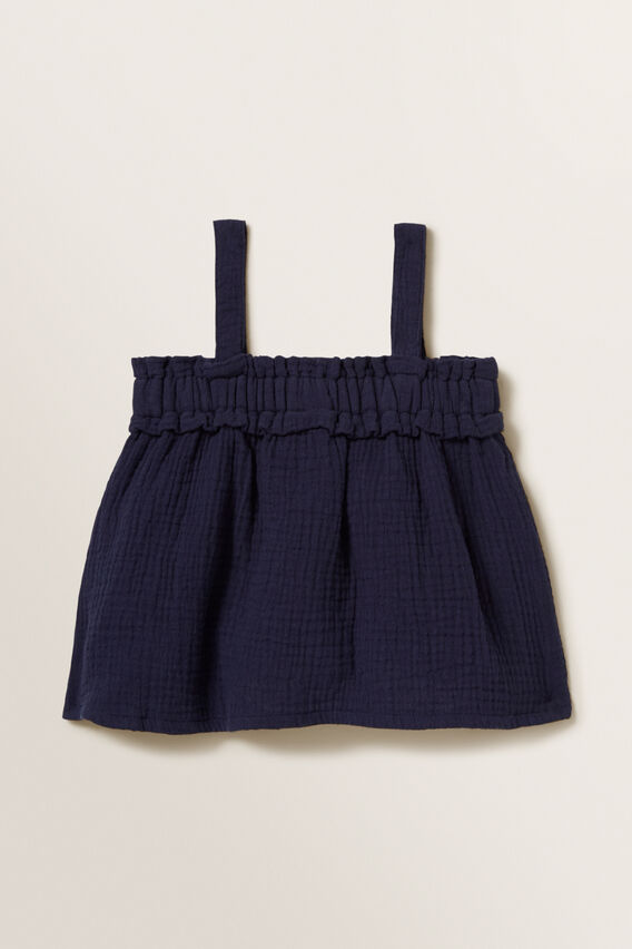 Cheesecloth Frill Top  NAVY  hi-res