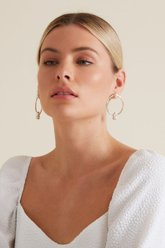 Round Pearl Earrings  GOLD  hi-res