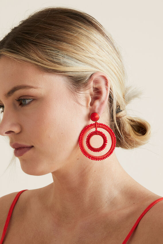 Double Circle Earrings  BOLD POPPY  hi-res