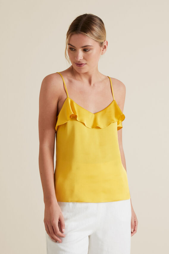 Textured Stripe Frill Cami  GOLD RUSH  hi-res