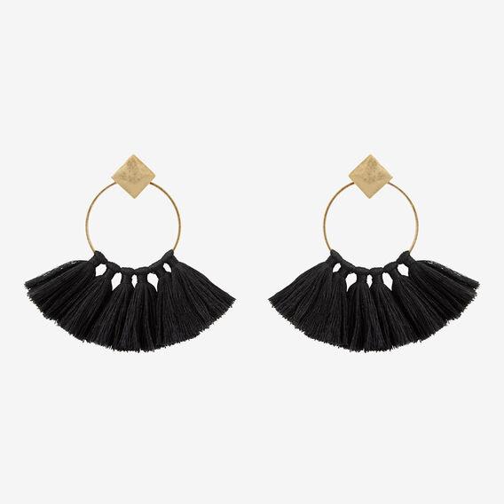Big Hoop Tassel Earrings  BLACK  hi-res