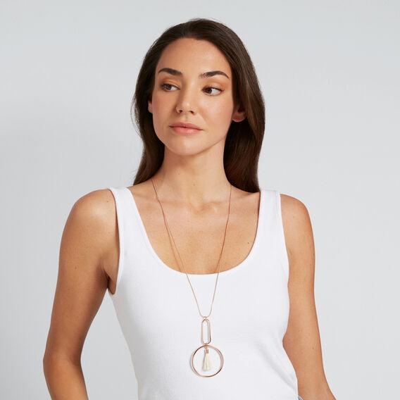 Circle Tassel Necklace  CREAM/ROSE GOLD  hi-res