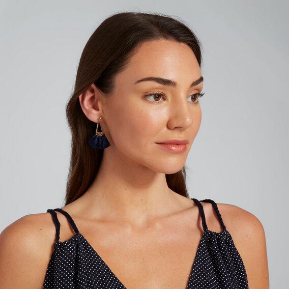 Triangle Tassel Earrings  NAVY  hi-res