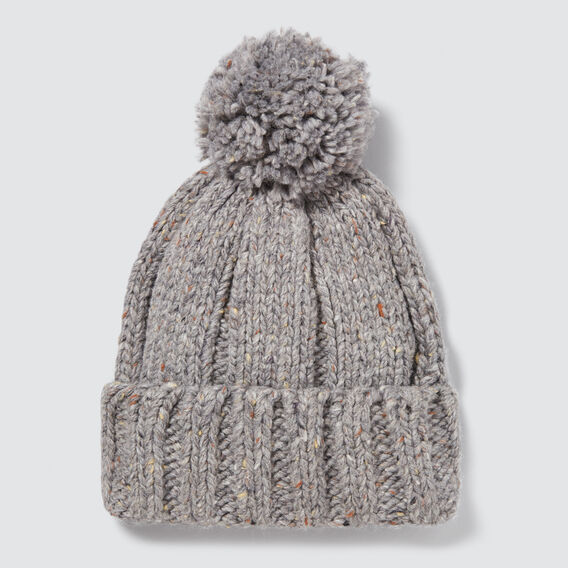 Rib Knit Pom Pom Beanie  GREY SPECKLE  hi-res