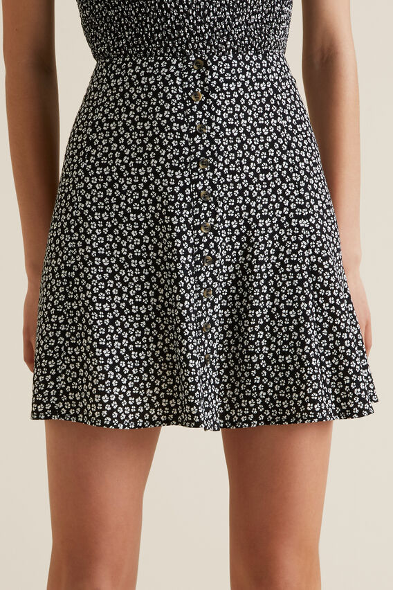 Floral Swing Skirt  BLACK  hi-res