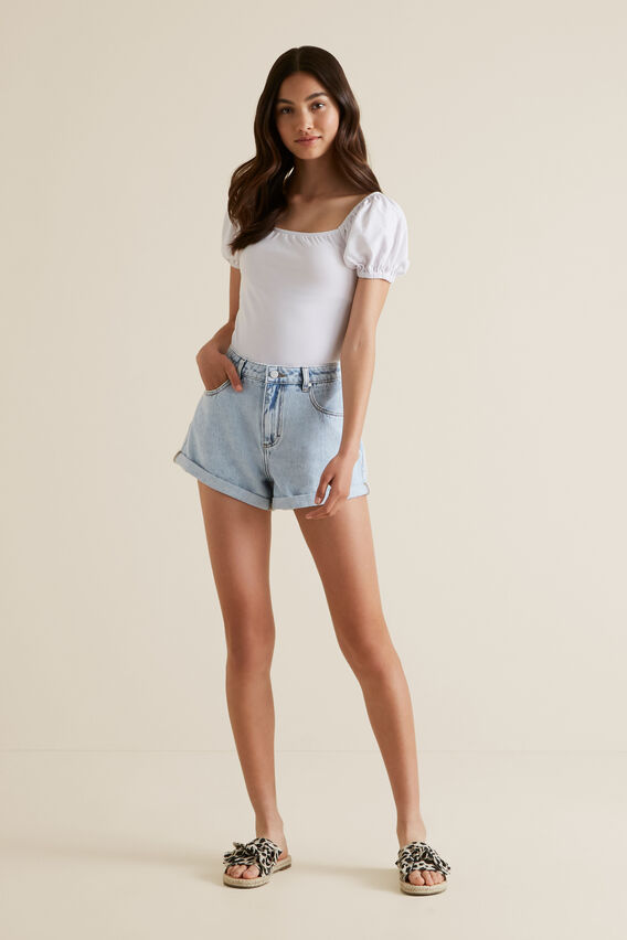 Low Rise Denim Short  BLEACHED DENIM  hi-res