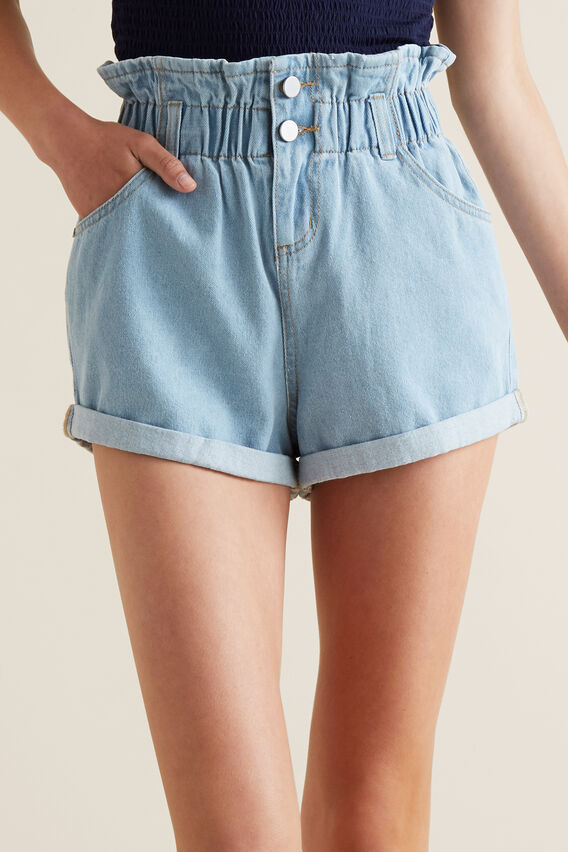 Paperbag Shorts  BLEACHED DENIM  hi-res