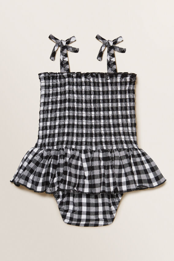 Gingham Frill Romper  BLACK  hi-res