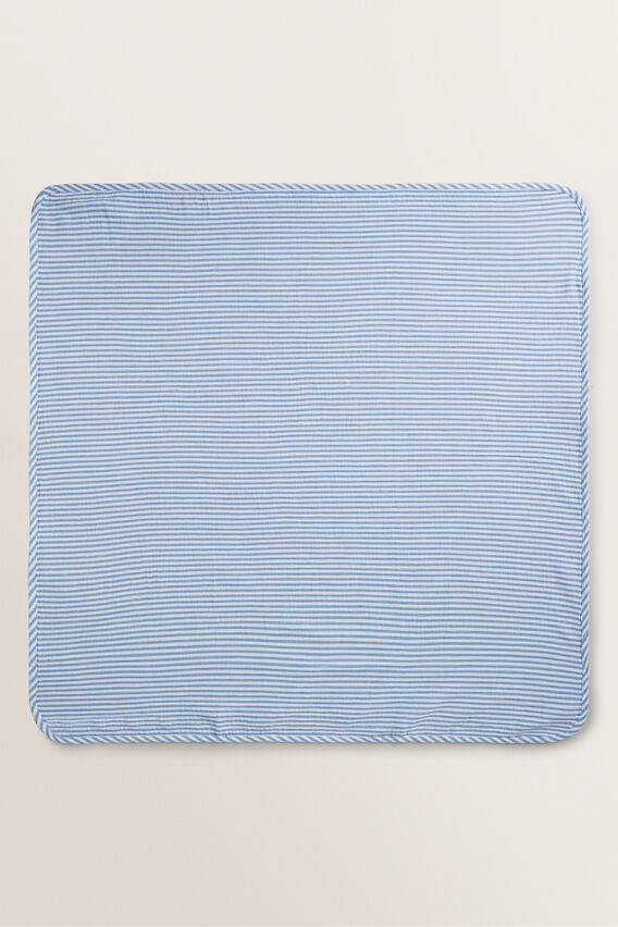 Stripe Muslin Wrap  CORNFLOWER BLUE  hi-res