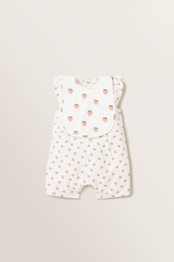 Strawberry Frill Romper  CANVAS  hi-res