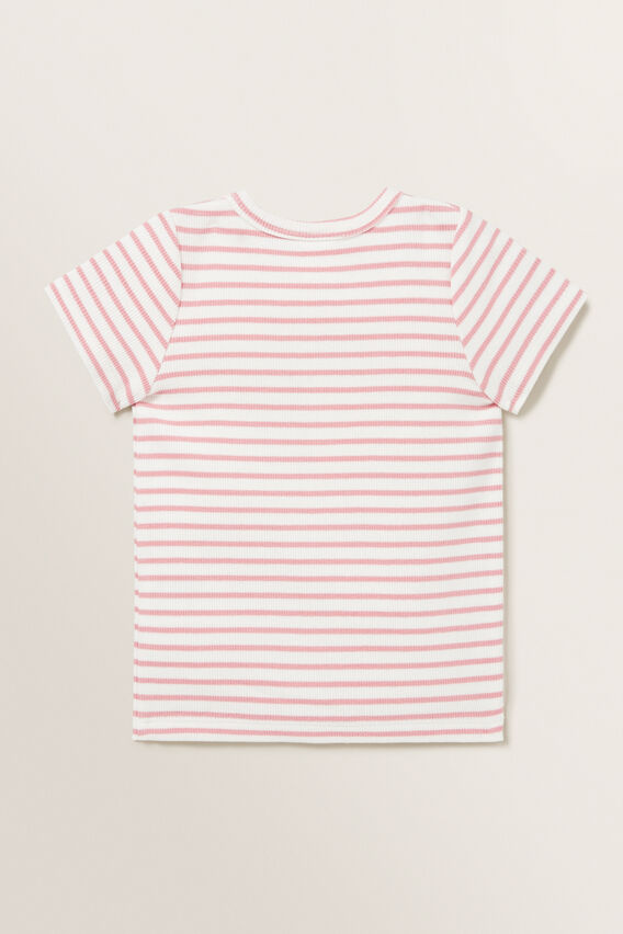 Stripe Rib Tee  DUSTY PINK  hi-res