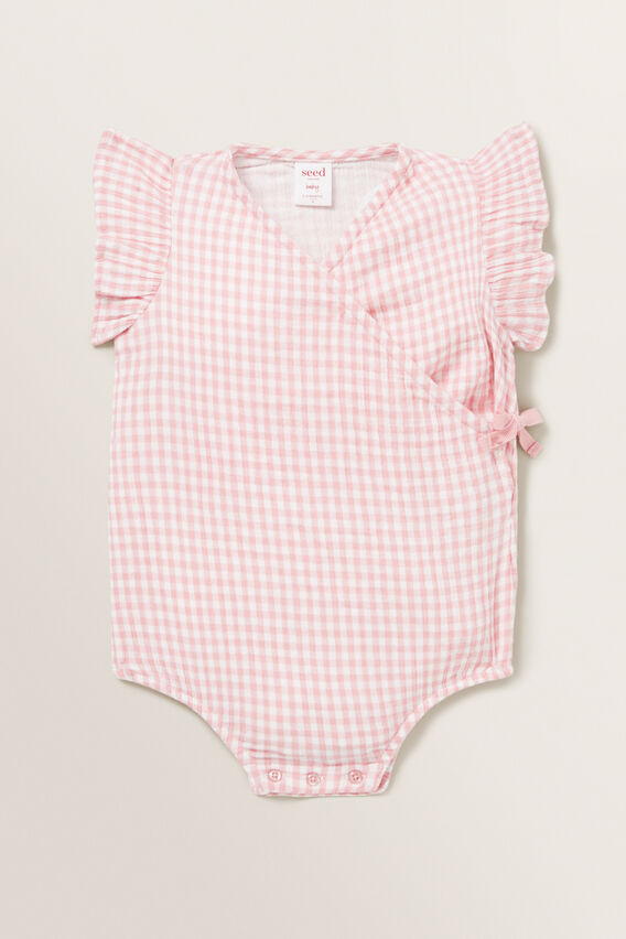 Gingham Wrap Onesie  DUSTY PINK  hi-res