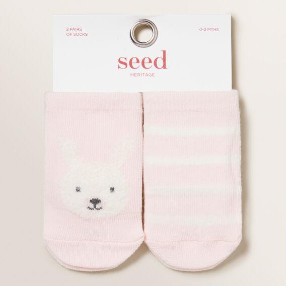 Bunny 2 Pair Socks  PINK  hi-res