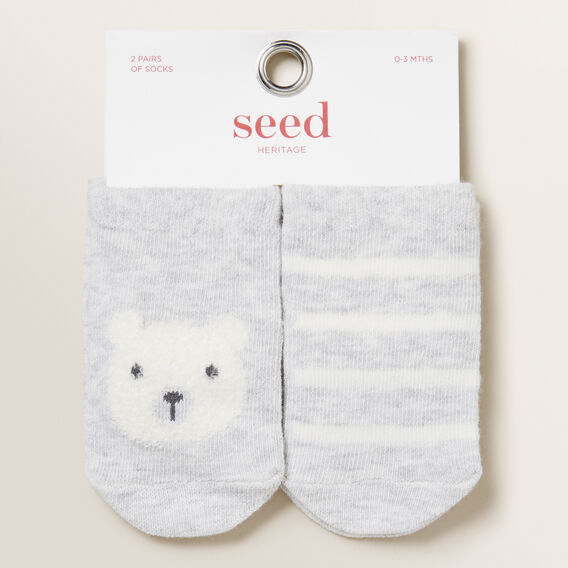 Bear 2 Pair Socks  GREY MARLE  hi-res