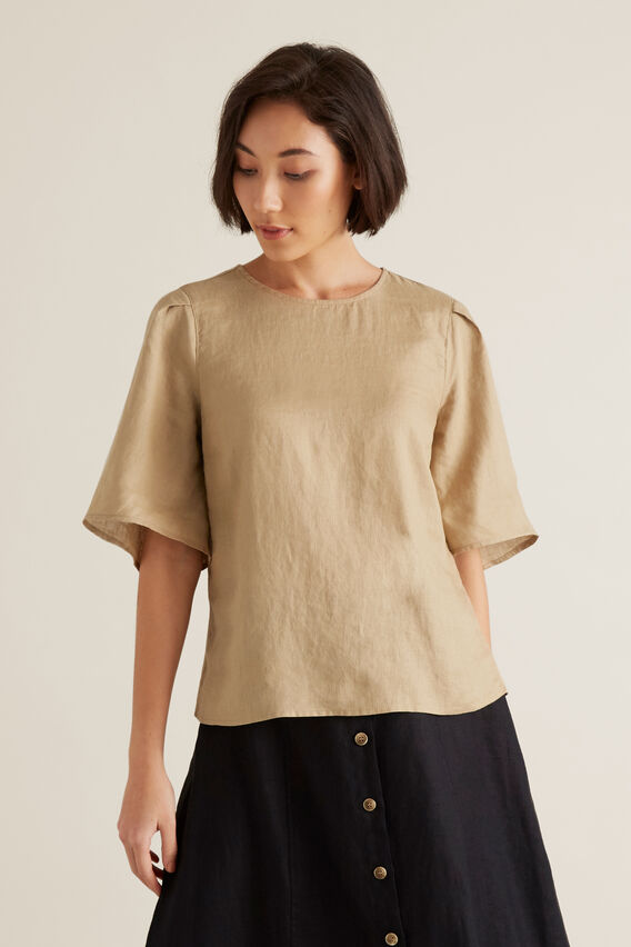 Flutter Sleeve Linen Top  WARM TAN  hi-res