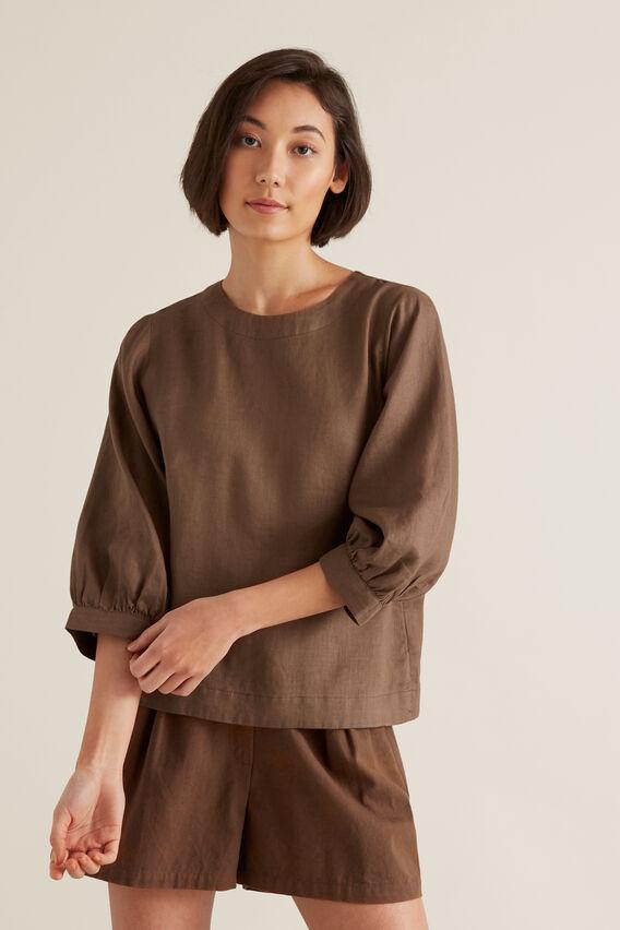 Blouson Sleeve Linen Top  LIGHT CHOCOLATE  hi-res