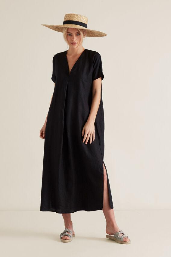 Linen Tie Up Dress  BLACK  hi-res
