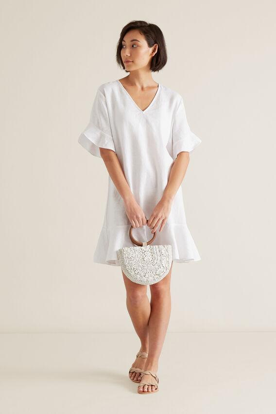 Linen Flutter Sleeve Dress  WHISPER WHITE  hi-res