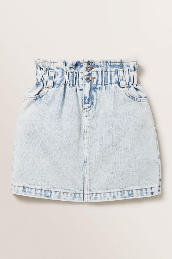 Paperbag Denim Skirt  BLUE ACID WASH  hi-res
