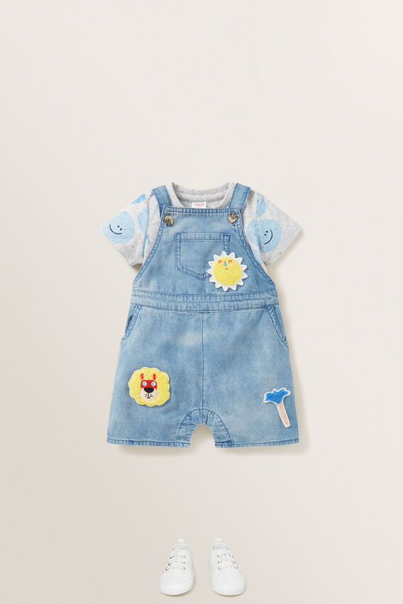 Patched Denim Overall  MID BLUE WASH  hi-res
