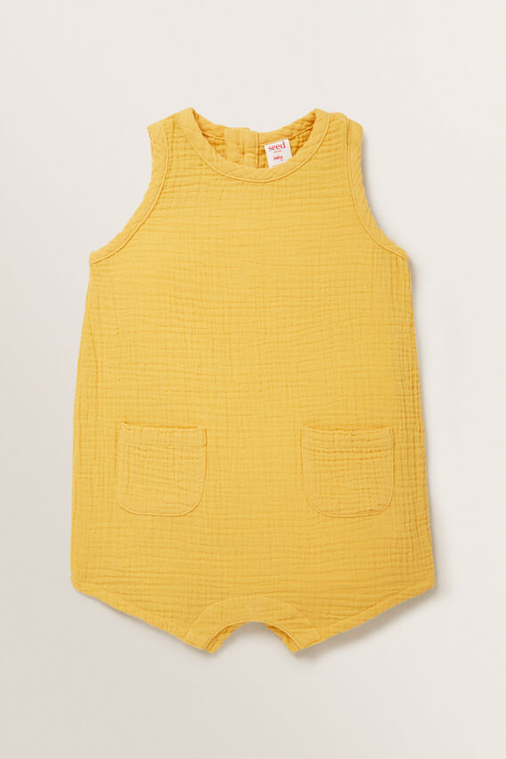 Cheesecloth Pocket Romper  PALE MUSTARD  hi-res