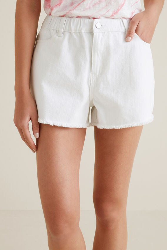 Elastic Waist Denim Short  WHITE  hi-res