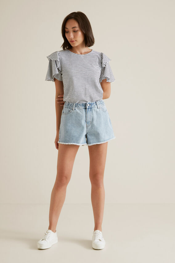 Elastic Waist Denim Short  LIGHT WASH DENIM  hi-res