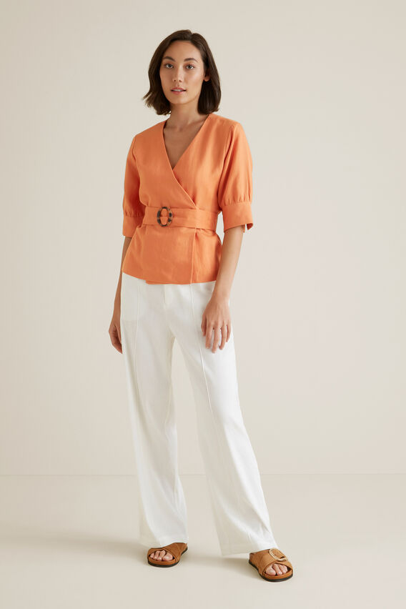 Wrap Front Blouse  SOFT CORAL  hi-res