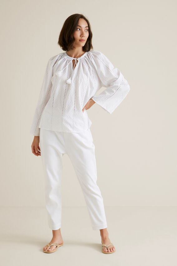 Floaty Dobby Blouse  WHISPER WHITE  hi-res