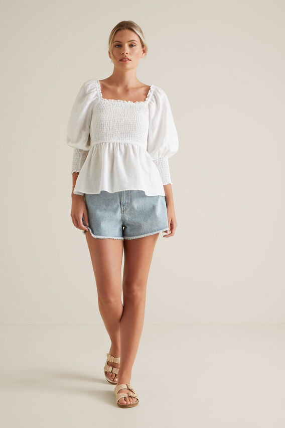 Shirred Blouson Top  WHISPER WHITE  hi-res