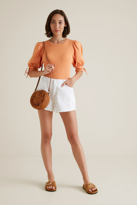 Puff Tie Sleeve Top  SOFT CORAL  hi-res