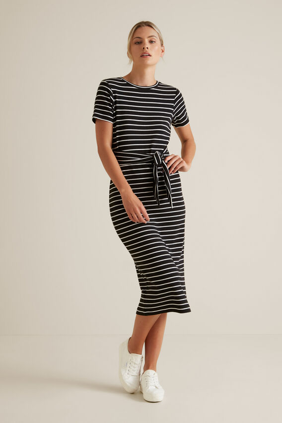 Tie Up T-Shirt Dress  BLACK STRIPE  hi-res