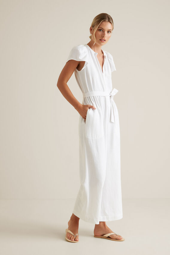 Frill Sleeve Jumpsuit  WHISPER WHITE  hi-res