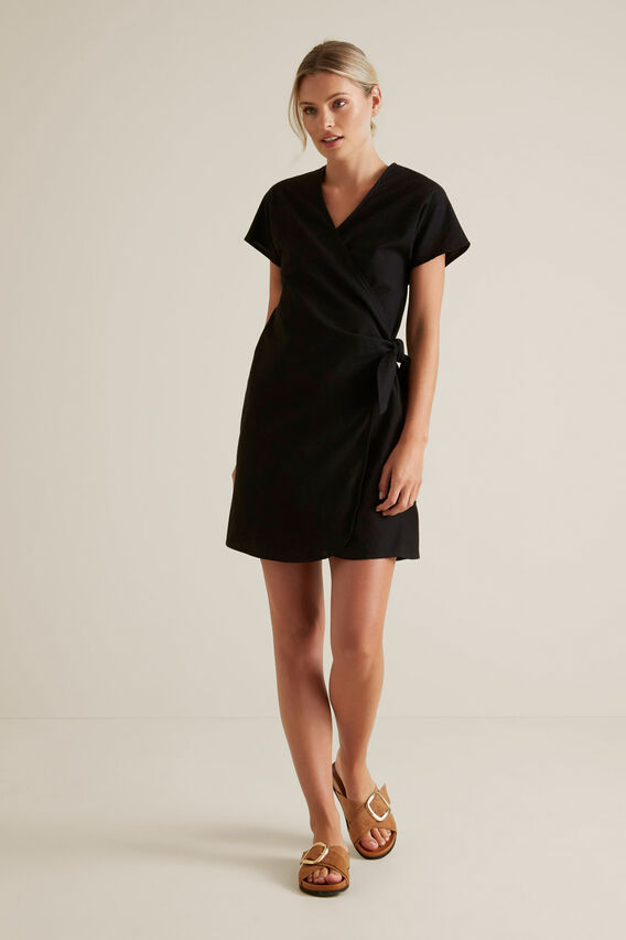 Wrap Around Mini Dress  BLACK  hi-res