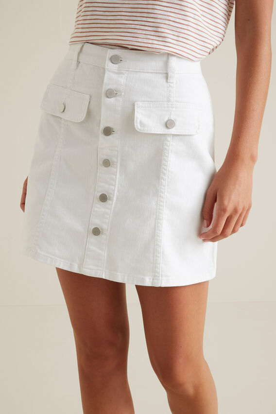 Button Front Mini Skirt  WHISPER WHITE  hi-res