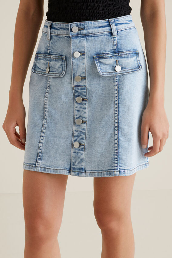Button Front Mini Skirt  LIGHT WASH DENIM  hi-res