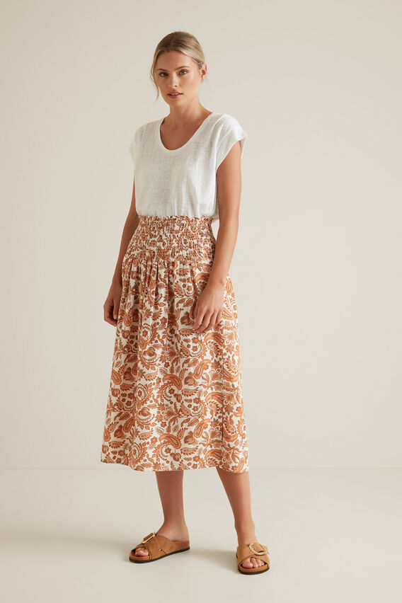 Shirred Paisley Skirt  PAISLEY  hi-res