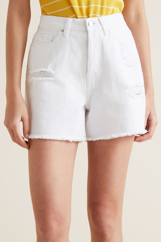 Distressed Denim Short  WHITE  hi-res