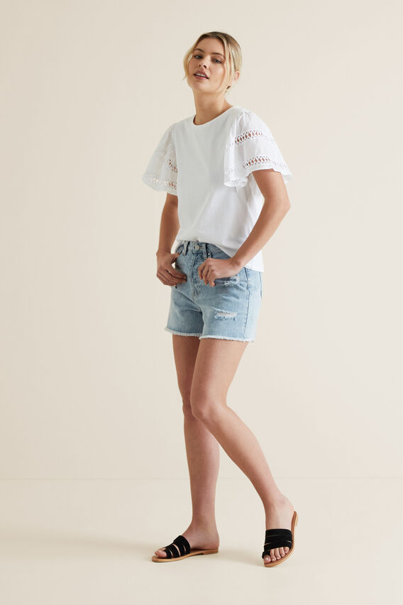 Distressed Denim Short  LIGHT WASH DENIM  hi-res